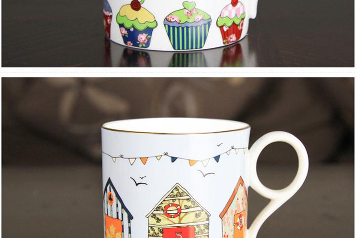骨瓷油画卡通可爱蛋糕,小房子马克杯多功能杯