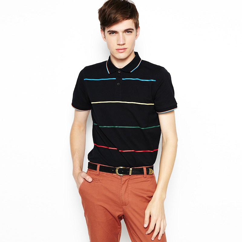 彩色细条纹短袖polo(男款) 黑色